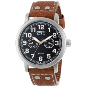 "Citizen シチズン メンズ 腕時計 Men's AO9030-05E Eco-Drive ""Avion"" Brown Leather and Stainless Steel Watch"