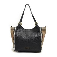 バーバリー BURBERRY 3958975 0010T HOUSE CHECK HORSESHOE LEATHER SMALL CANTERBURY LEATHER TOTE オープントートバッグ...