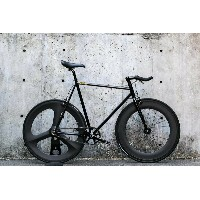 "CARTEL BIKES ""AVENUE LO"" DINER FRONT 88mm CARBON WHEEL REAR CARBON 3 SPOKE WHEEL CUSTOM MAT BLACK..."