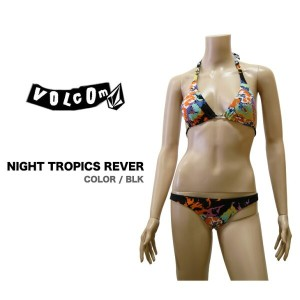 VOLCOM レディース レディース ボルコム 水着 NIGHT TROPICS REVERSIBLE SLIDE HALTER & ROUCHED FULL サイズXS : BLK ...