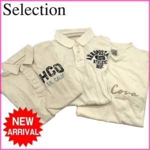 SELECTION SELECTION 3点セット◆ポロシャツ&ロングスリーブTシャツ ロゴ ホワイト 綿100% 【中古】 A409