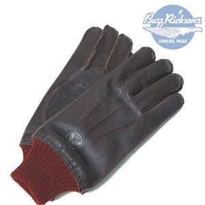 """BuzzRickson's(バズリクソンズ) LEATHER GLOVEE """"A-10"""" Col.01)RED RIB / Lot.BR01221 【定番品】"""