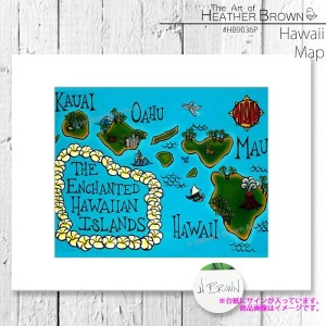 HEATHER BROWN Hawaii Map HB9036P ヘザーブラウン アートプリント Mサイズ 絵画 ハワイ サーフ サーフィン ハワイアン 絵 風景画■CRNG ds-Y