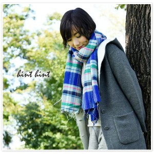 * 【10%OFF クーポン対象商品】【SALE 40%OFF】【hint hint ヒントヒント】チェック柄 大判 厚手 ストール (stole09)【select】【セール】レディース マフラー...