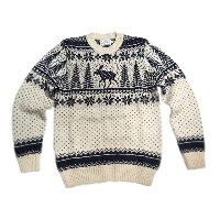 【期間限定30%OFF!】INVERALLAN(インバーアラン)/#113022 SHETLAND JACQUARD DEER CREWNECK SWEATER/cream x new navy