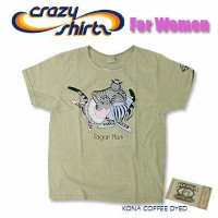 Crazy Shirts(クレイジーシャツ)-Womens- S/S Scoope Neck Tee @Coffee Dyed[2005993] SUGAR PLUM CAT クリバンキャット 半袖...