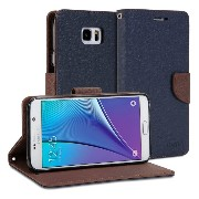 Galaxy Note 5 ケース, GMYLE Wallet Case Classic Galaxy Note 5 V SM-N920 專用 - Denim Blue & Mud Brown PUレザーケースカバースタンド