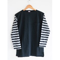 【送料無料】CUSHMAN(クッシュマン)~BORDER SLEEVE BOATNECK TEE BLACK~