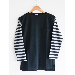 【送料無料】CUSHMAN(クッシュマン)〜BORDER SLEEVE BOATNECK TEE BLACK〜