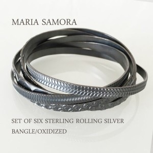 マリア サモラ 6連 シルバーバングル MARIA SAMORA SET OF SIX STERLING ROLLING SILVER BANGLE/OXIDIZED