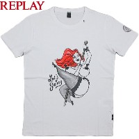 REPLAY/リプレイ M6950R Jersey T-shirt with print プリント入り、カットソー/半袖プリントTシャツ OPTICAL WHITE(ホワイト)