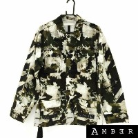 Off-White オフホワイト16SS BLEACHED CAMOUFLAGE SAHARIANAcamouflage print jacketカモフラージュプリントジャケットXSサイズ【...