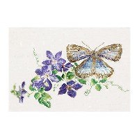 Thea Gouverneur クロスステッチ刺繍キット No.438 「Butterfly-Clematis」(蝶とクレマチス) オランダ テア・グーヴェルヌール 【取り寄せ/納期40~80日程度】