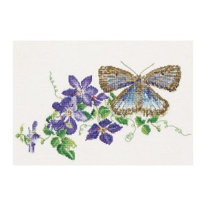 Thea Gouverneur クロスステッチ刺繍キット No.438 「Butterfly-Clematis」(蝶とクレマチス) オランダ テア・グーヴェルヌール 【取り寄せ/納期40〜80日程度】