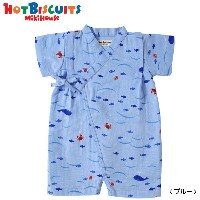 MIKIHOUSE HOTBISCUITS 二重織ガーゼ☆さかな柄甚平オール :SS-M(50cm-80cm):72-7502-979