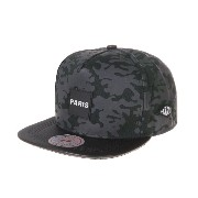 WITHMOONS 野球帽キャップ Camouflage Paris Patch Snapback Hats Faux Leather Brim FY4219 (Navy)