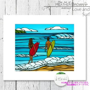 HEATHER BROWN Love and Surf HB9366P ヘザーブラウン アートプリント Mサイズ 絵画 ハワイ サーフ サーフィン ハワイアン 絵 風景画■CRNG ds-Y