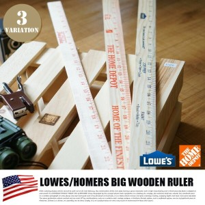 LOWES/HOMERS BIG WOODEN RULER(ロウズ・ホーマーズ ビッグ木製ものさし) from U.S.A 3カラー(ブルー・レッド・オレンジ)