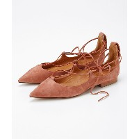 【SALE(伊勢丹)】 PIPPICHIC(ピッピシック)  レースアップポインテッドシューズ(ANNALU15) SUEDE SMOKY PINK 靴~~レディースシューズ~~パンプス