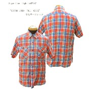 "Sugar Cane(シュガーケーン) Sugar Cane Light ""COTTON LINEN TWLL CHECK""半袖ワークシャツsc37287-16SS"