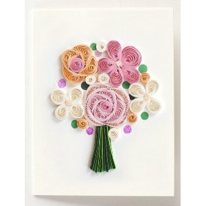 "[953-962]Quilling Card LLC グリーティングカード ""Flower Bouquet gift enclosure"" ペーパークイリング"