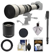 Rokinon 650-1300mm f/8-16 Telephoto Zoom レンズ with 2x Teleconverter (=650-2600mm) + Monopod キット for Canon EOS 60D, 7D, 5D マーク II III...
