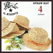 【IL BISONTE イルビゾンテ】レザーリボン ストローハット レディース5452404183【コンビニ受取対応商品】