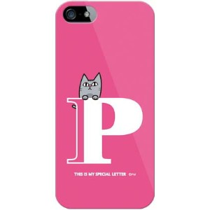 【送料無料】 letter&cat ピンク P (クリア) design by PansonWorks / for iPhone SE/5/au 【SECOND SKIN】【ハードケース...