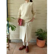 evam eva vie (エヴァムエヴァ) raising cotton linen skirt(V163T915)