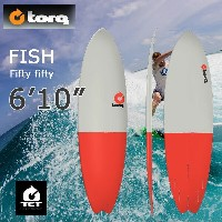 torq(トルク)6'10 Fish Fifty Fifty gray + red tailエポキシ製ファンボード フィン付き!