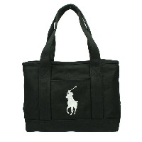 POLO RALPH LAUREN ポロ ラルフローレン トートバッグ 959011 Black Canvas/White SCHOOL TOTE MD