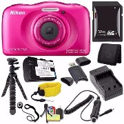 Nikon COOLPIX S33 デジタル Camera (Pink) (International Model No Warranty) + EN-EL19 バッテリー + External Charger + 32GB SDHC Card + フロ...