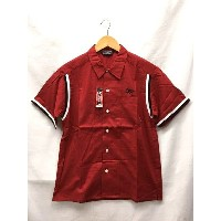CUT-RATE カットレイト S/S BOWLING SHIRT チェーン刺繍 半袖 ボーリングシャツ 赤 サイズ:L 【中古】【送料無料】