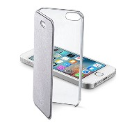 Cellularline iPhone SE ケース 手帳型 ブランド シルバー CLEAR BOOK for iPhone6s/6【上品なイタリアデザイン】