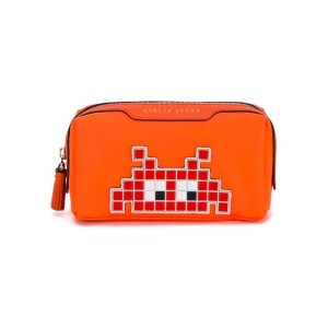 Anya Hindmarch - Space Invaders 化粧ポーチ - women - ゴートスキン/ナイロン - ワンサイズ