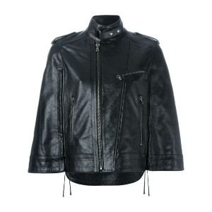 Diesel Black Gold - wide sleeve zipped jacket - women - レザー/ポリエステル/レーヨン - 44