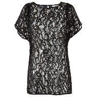 Martha Medeiros - sheer lace blouse - women - コットン/ポリプロピレン - 44