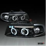 アウディ ヘッドライト FITS AUDI A4 HALO PROJECTOR HEADLIGHTS BLACK LEFT+RIGHT RIGHT AUDI A4 HALOプロジェクターヘッドライトB...