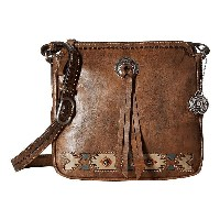 アメリカンウェスト レディース ハンドバッグ バッグ Native Sun Crossbody Distressed Charcoal Brown/Sand/Golden Tan/Turquoise