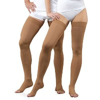 23-32 mmHg Graduated Medical COMPRESSION STOCKINGS Open Toe, Class II Thigh High (S, black)