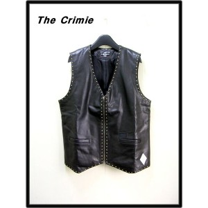 L 黒 BLACK【CRIMIE [クラーミー] Cow hide studded leather vest which has softness and tough カウハイドスタッズレザーベスト...