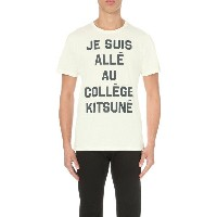 メゾンキツネ maison kitsune メンズ トップス Tシャツ【je suis alle au college cotton-jersey t-shirt】White