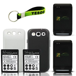 YESOO-GS3 サムスン Galaxy SIII 2x 4300mAh Extended バッテリー, ブラック And ホワイト バッテリー カバー, 2x バッテリー Charger w/...