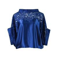 Martha Medeiros - lace panel crop blouse - women - シルク/コットン - 40
