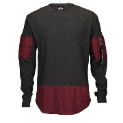 サウスポール メンズ トップス ジャージ【Southpole Thermal Scallop Long Sleeve T-Shirt】Burgundy