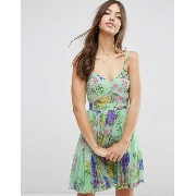 ASOS エイソス Sheer And Solid Pleated Mini Dress ドレス ワンピース In Scarf Print