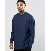 ASOS エイソス Oversized Longline Sweatshirt In Reverse Loopback With Taping