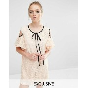 Sister Jane Cold Shoulder Lace Volante Dress ドレス ワンピース With Frill Detail