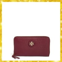 Leather Zip Around Continental Wallet Red Agate Tory Burch(トリーバーチ) バイマ BUYMA