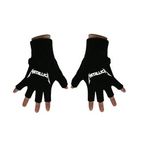 Metallica 手袋 Classic Band Spiked Logo 公式 新しい ブラック Cotton Fingerless